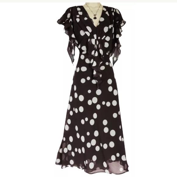 ecd15a2430fc Dress Barn Dresses & Skirts - 16 XL 1X▫️CHOCOLATE POLKA DOT CHIFFON DRESS  Plus
